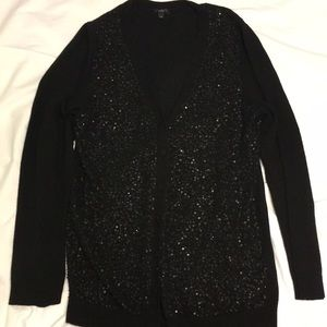 Talbots Extra Large Black Sequin Wool Cardigan